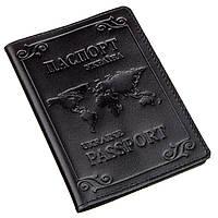 Шкіряна обкладинка на паспорт з картою і рамкою SHVIGEL 13982 Чорна, фото 1