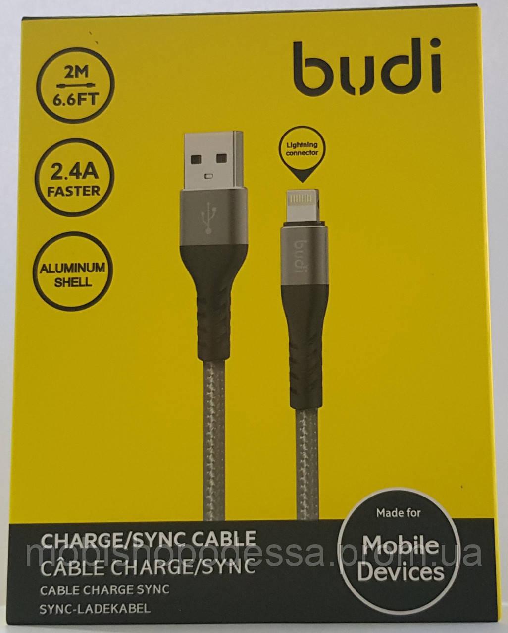 USB-кабель Budi Lightning to USB Charge/Sync 2м, M8J197L-GRY