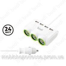 Car charger Budi 4 USB + 3 Car Sockets 24W 0.9m M8J650