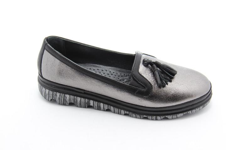 Мокасины женские кожа ArasShoes 304-platin-siyah