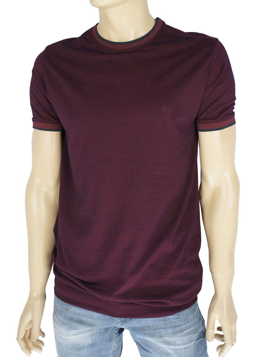 Бавовняна однотонна чоловіча футболка Fabianі 3613 Bordo