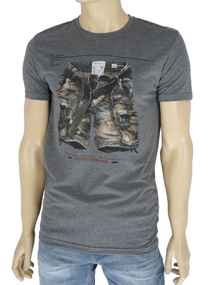 Стильна чоловіча футболка Fabianі 8854 Antra Mell в сірому кольорі