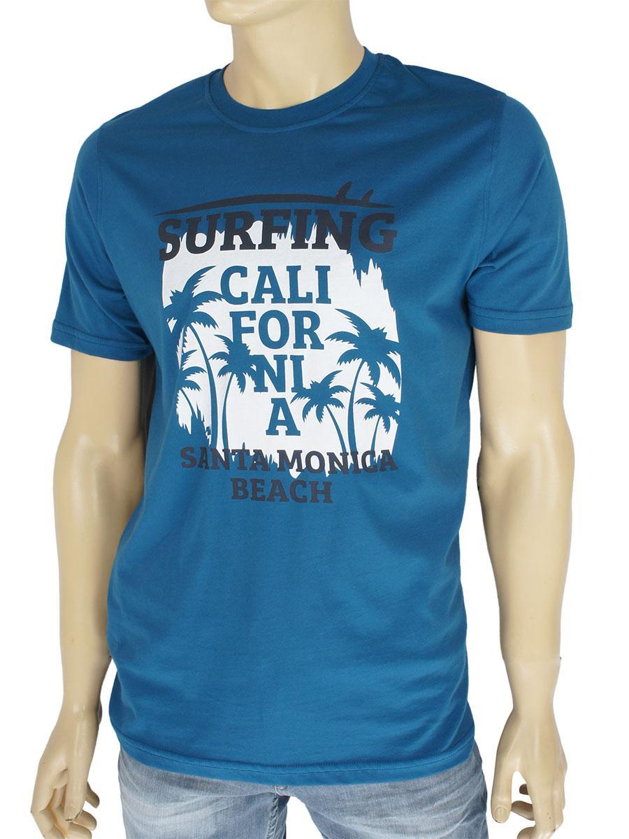 Хлопковая мужская футболка Fabianі 3151 Indigo в синем цвете
