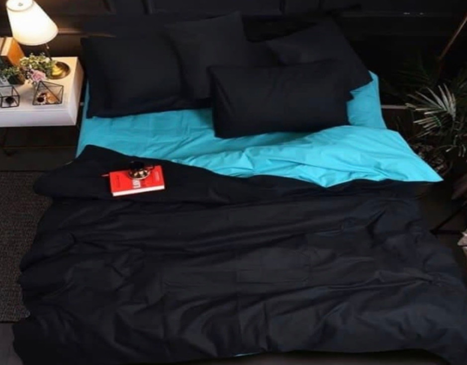 Комплект постельного белья  Бязь GOLD 100% хлопок Черно- голубой