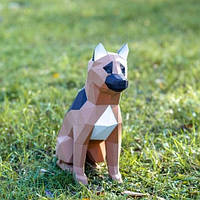 Полигональная скульптура щенок Овчарки 3D из картона №3