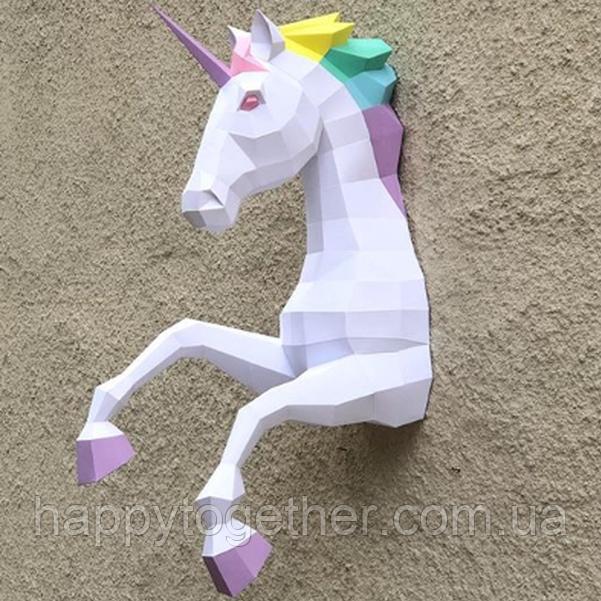 Настенная полигональная скульптура Единорог 3D из картона