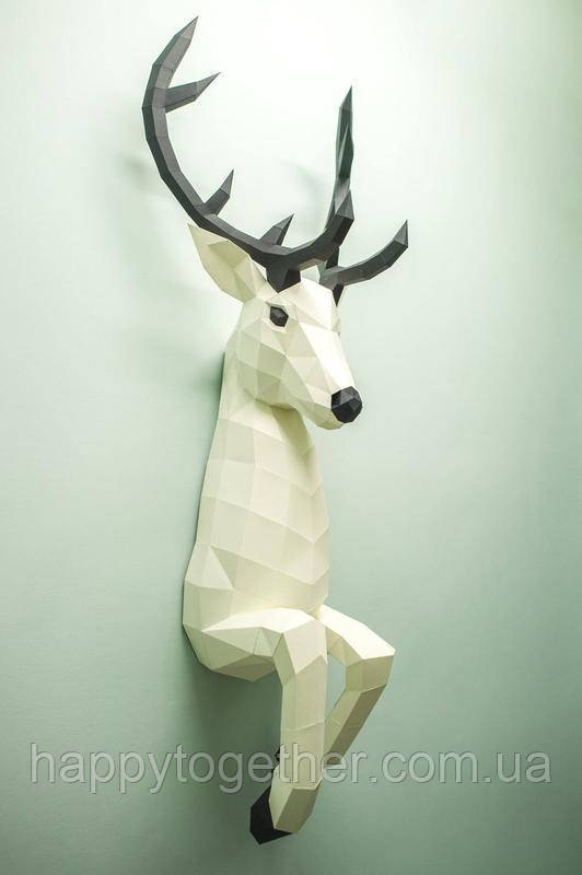 Настінна полігональна скульптура Олень 3D з картону