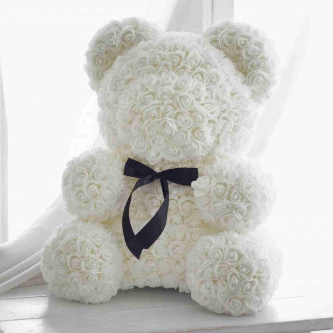 Мишка из 3D роз высотой 25см / Мишка из 3D роз Zupo Crafts 25 см Белый