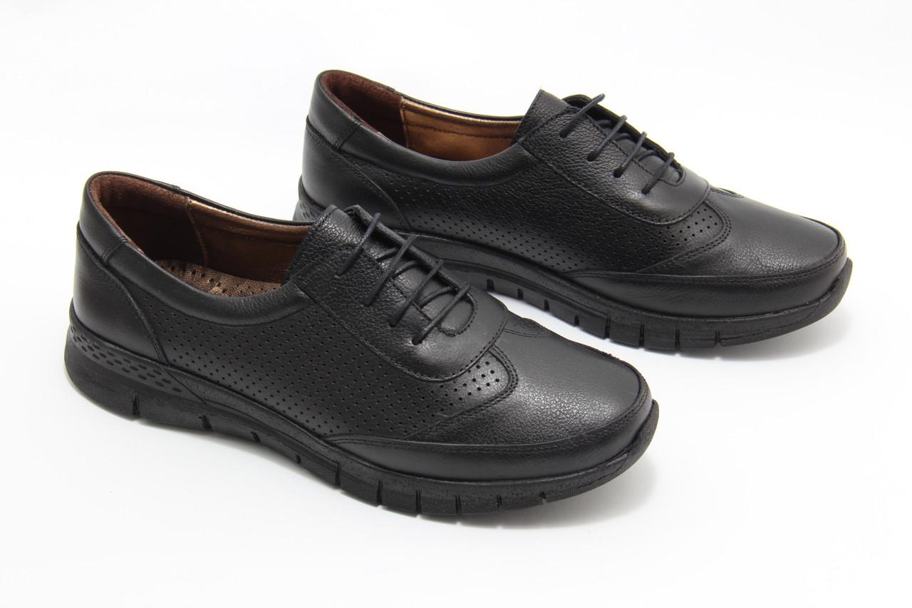 Чорні шкіряні кросівки Doren 20106-000-siyah
