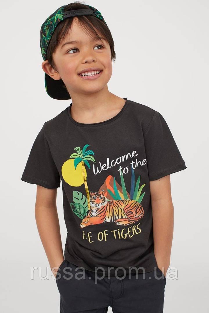 Стильная трикотажная футболка  с рисунком Тигра НМ для мальчика