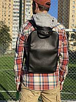 Рюкзак мужской  городской для ноутбука средний непромокаемый из экокожи черный, фото 1