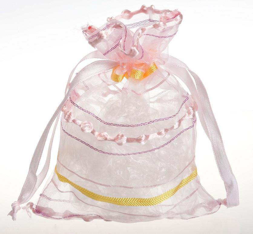 Мешочек органза розовый с желтой полоской №151
