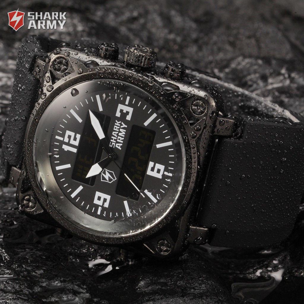 Мужские часы Shark Army Black Digital LCD Analog