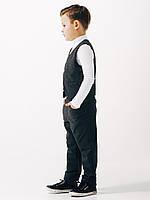 Школьные брюки на резинке для мальчика ТМ Смил тёмно-серый меланж