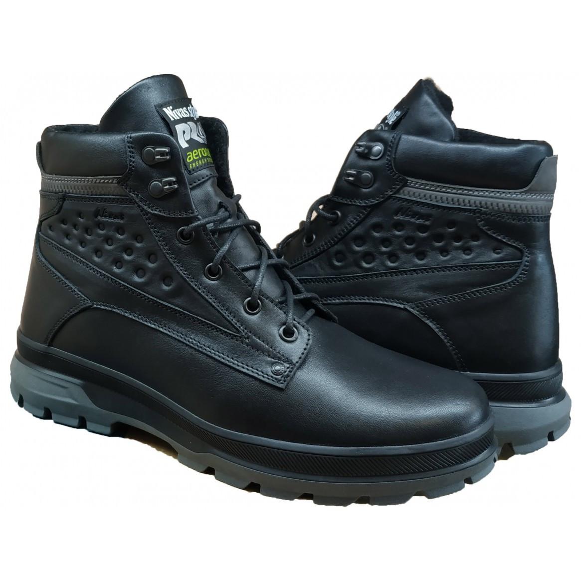 Кожаные мужские ботинки зимние  на меху  40-45 кожа лицевая черная