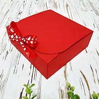 Коробка 170х170х60 мм красная с бантом, фото 1