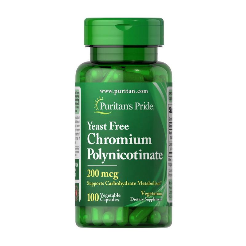 Хромиум піколінат Puritan's Pride Chromium Polynicotinate 200 mcg Yeast Free 100 veg caps
