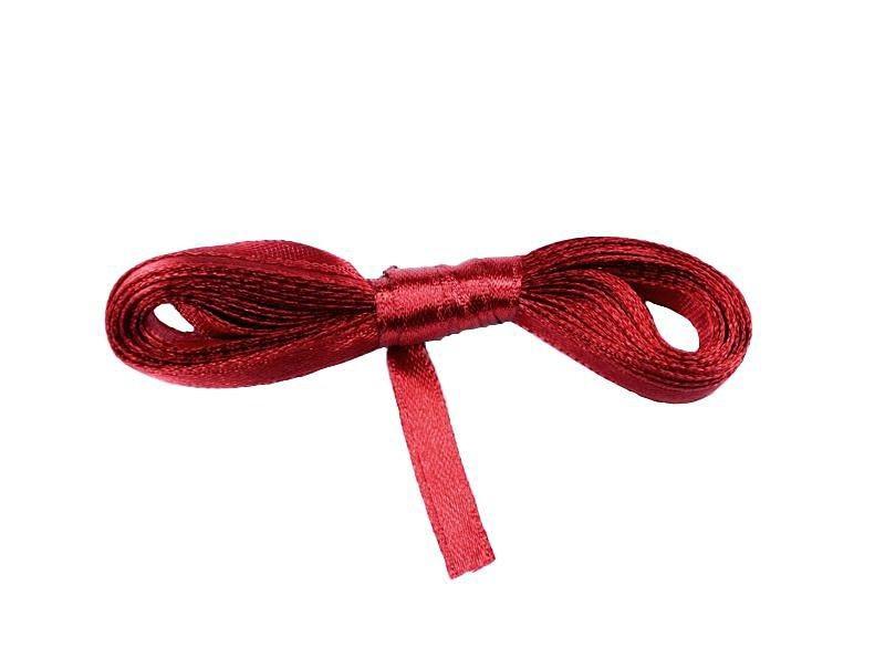 Лента атласная темно-красная 0,6 см длина 5 м