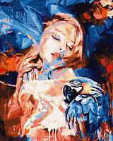 "Картина по номерам. Rainbow Art ""Девушка и попугай"" GX26772-RA"