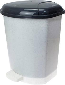 Відро 15л для сміття з кришкою та педалькою,мармур-флок №GR-02063/Горизонт/