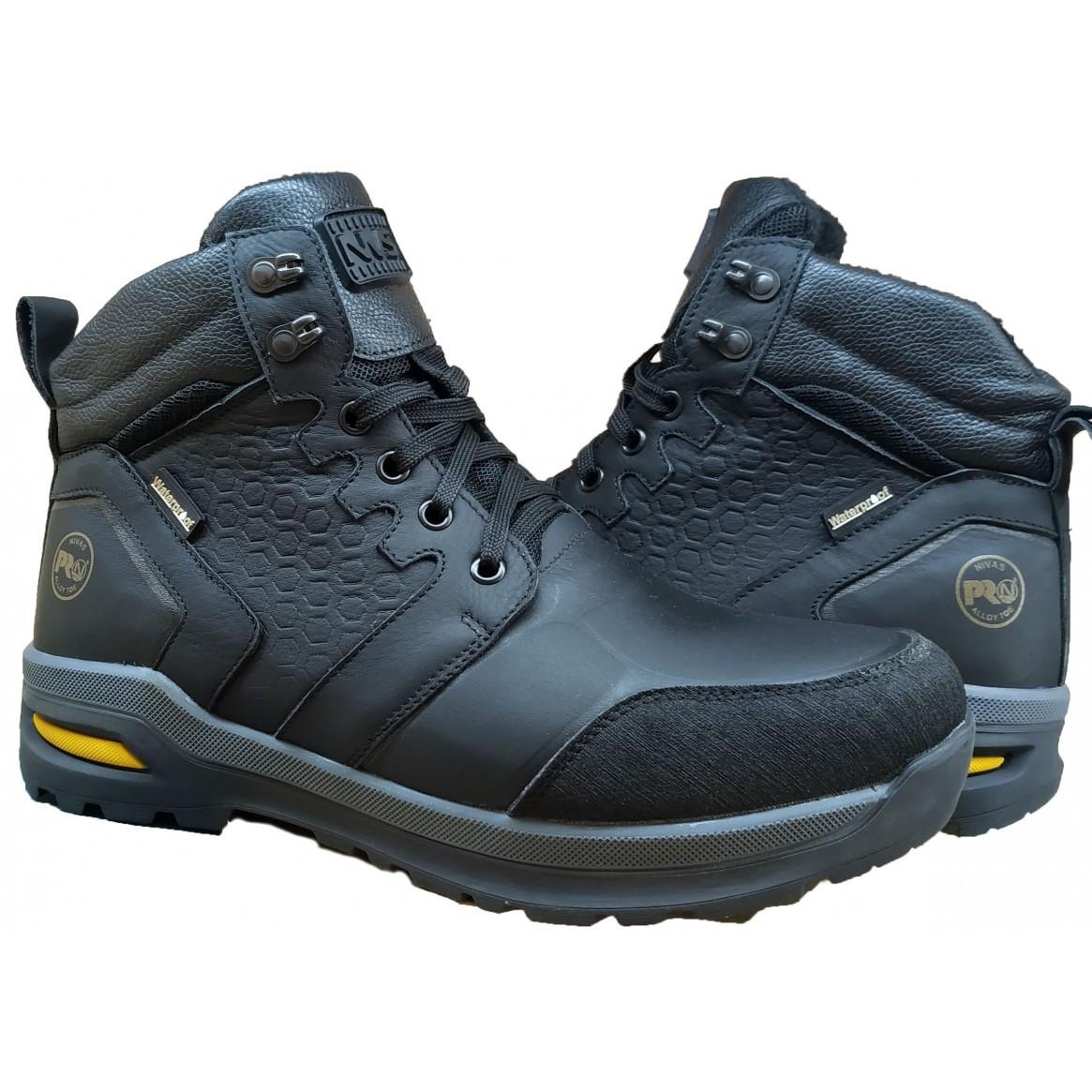 Ботинки мужские на меху  кожаные  40-45 черный саваж