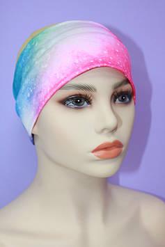 Пов'язка жіноча рожевий з синім 8 см
