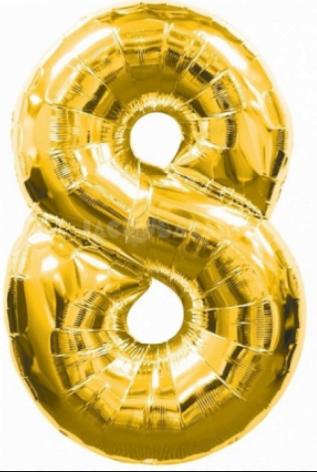 """Кулька повітр. фольгована """"Цифра-8"""" 35см золото(10)(20)"""