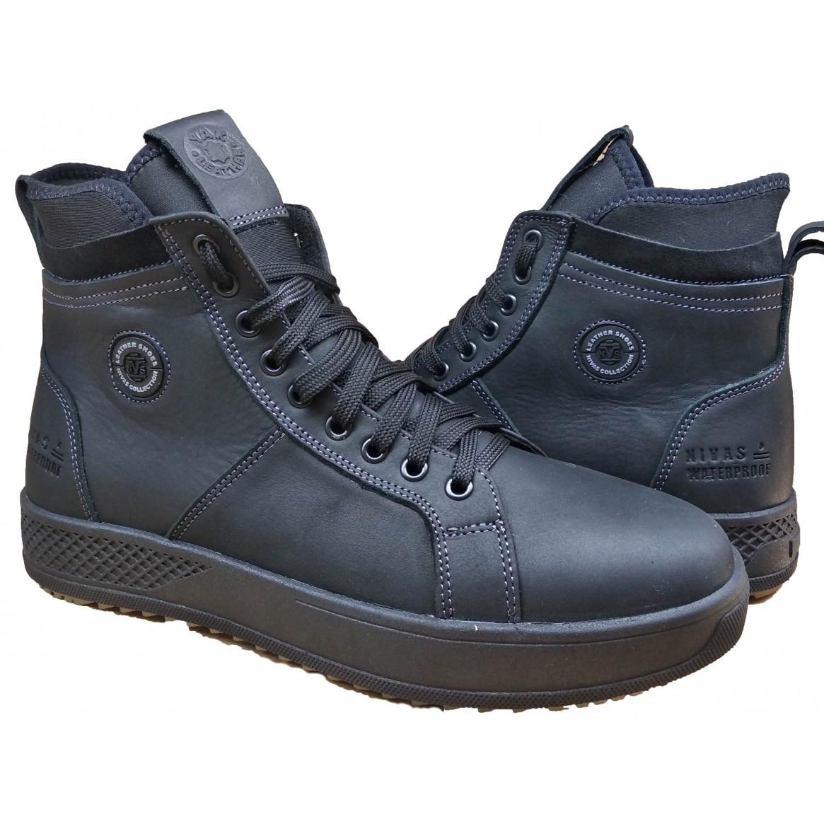Шкіряні чоловічі черевики на хутрі 40-45 тінкер чорний