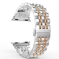Универсальный металлический ремешок для Apple Watch 42/44 mm Сталь + розовое золото