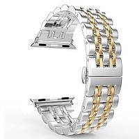 Ремешок Apple watch металлический 38/40 mm Сталь + золото