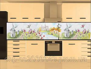Стеклянный фартук для кухни - скинали Акварель