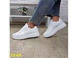Кроссовки форсы на высокой платформе белые К2249, фото 8