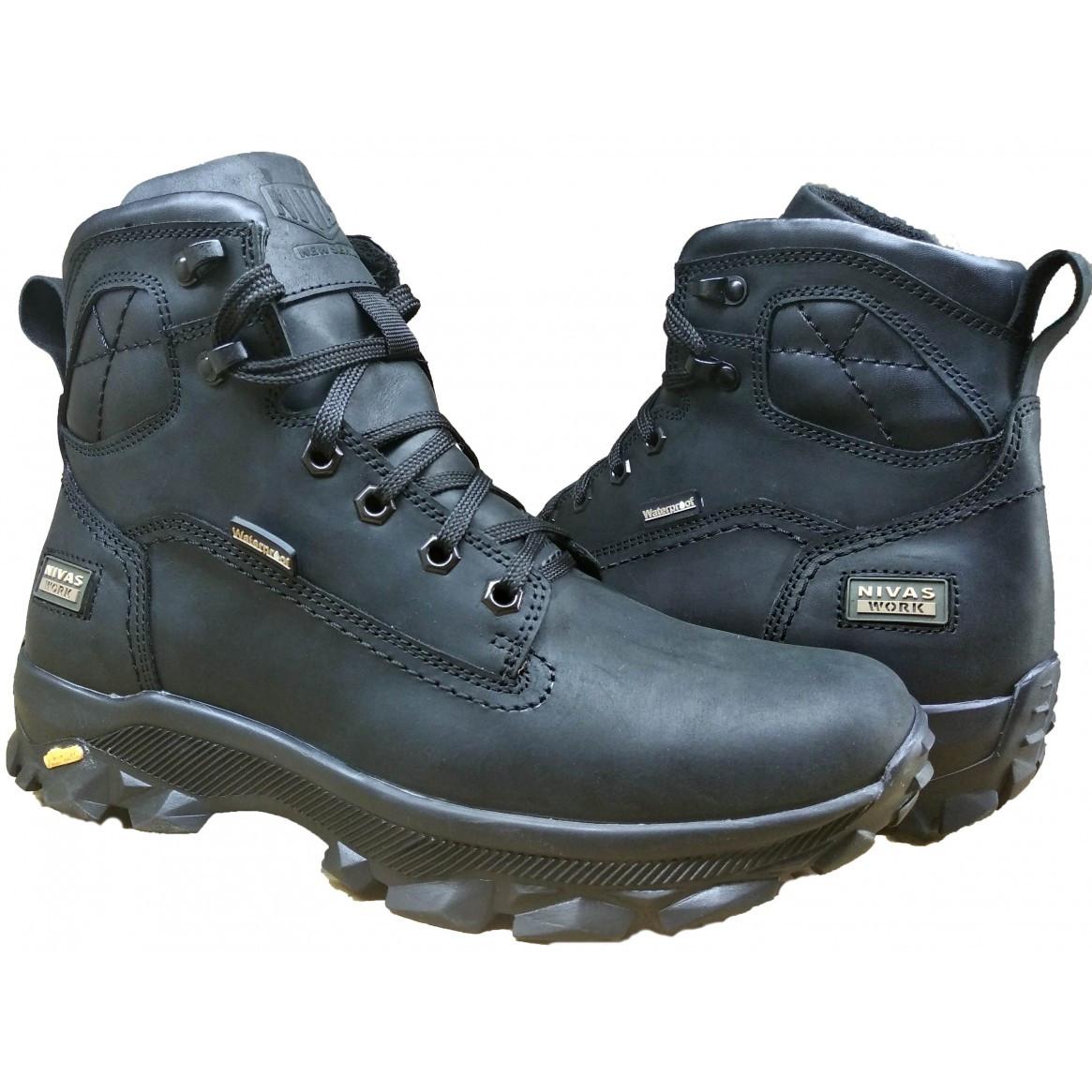 Шкіряні чоловічі черевики на хутрі зимові 40-45 крейзі чорний