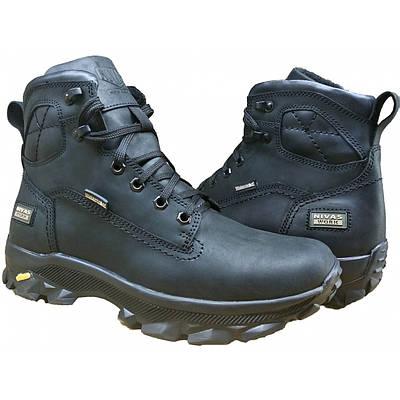 Кожаные мужские ботинки  на меху зимние  40-45 крейзи черный