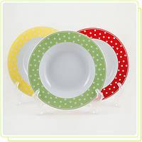 Тарелка для супа глубокая 21см зеленый горошек  (только по 6 штук)
