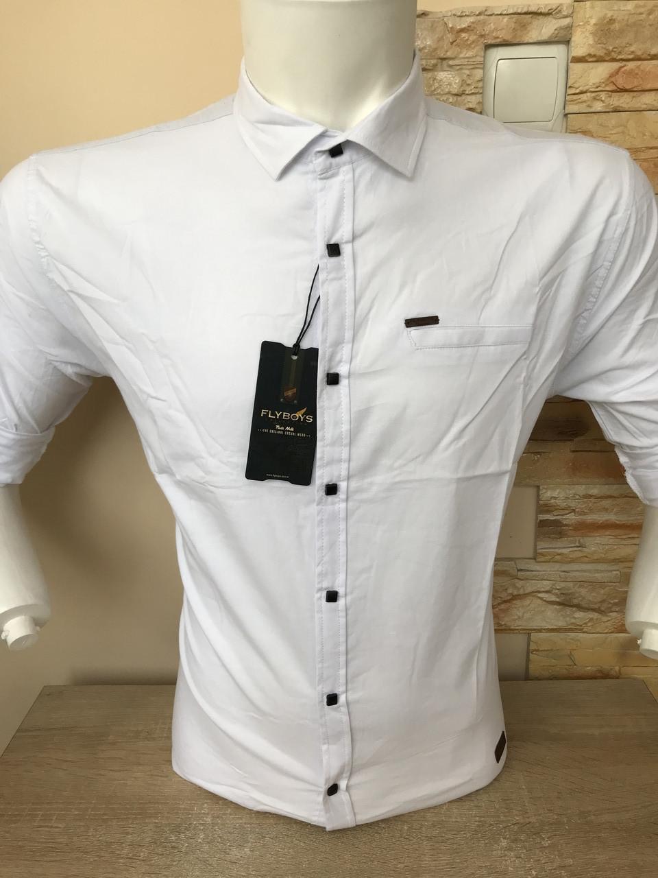 Біла стрейчева сорочка з довжин. рукавом FlyBoys-2724