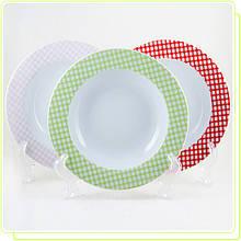 Тарелка для супа фарфоровая 21см розовая клетка (только по 6 штук)