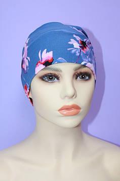 Пов'язка жіноча блакитний 11 см принт квіти