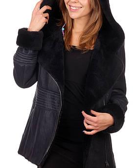 Дубленка женская VK синяя с капюшоном короткая 46 размера (Арт. D181)