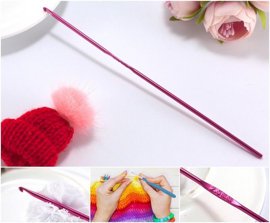 Крючок для вязания №2 металлический,  sz Малиновый