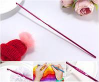 Крючок для вязания №2 металлический,  sz Малиновый, фото 1