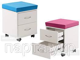Детская тумба на 2 ящика с пуфом  цвет голубой и розовый