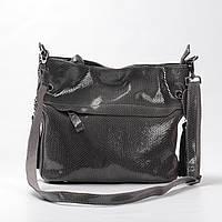 """Женская кожаная сумка с лазерным напылением коричневая """"Электра Dark Gray"""""""