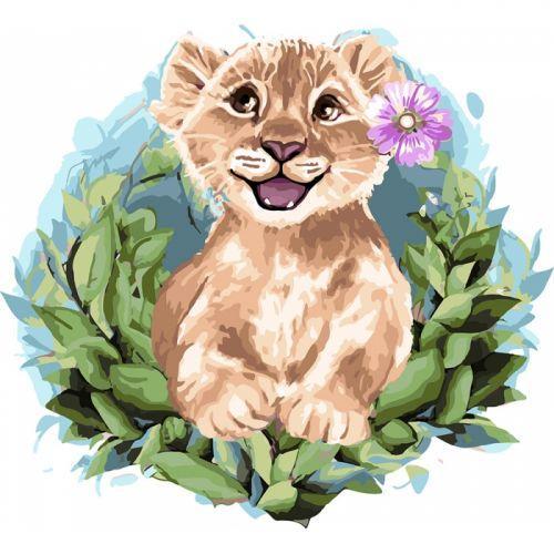 """Картина по номерам """"Волшебный львёнок"""" ★★★★ (львенок, животные, анималистика, простая, лев)"""
