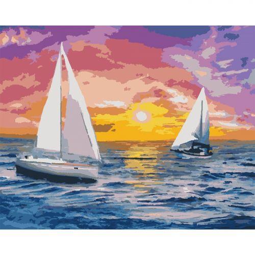 """Картина по номерам """"Встречая рассвет"""" ★★★★ (парусник, корабль, море, марина, рассвет, океан, волны)"""