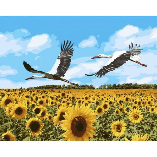 "Картина по номерам ""Аисты в небе"" ★★★★★ (аист, птица, поле, природа, подсолнух)"
