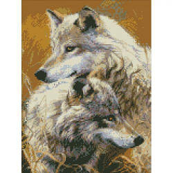 """Алмазная вышивка """"Верность"""" (волк, волчица, пара волков)"""