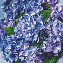 """Алмазная вышивка """"Вдохновляющая гортензия"""" (цветы, гортензия, синий)"""