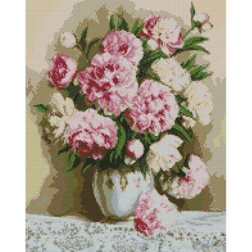"""Алмазная вышивка """"Благородные пионы"""" (цветы, пион, цветок)"""