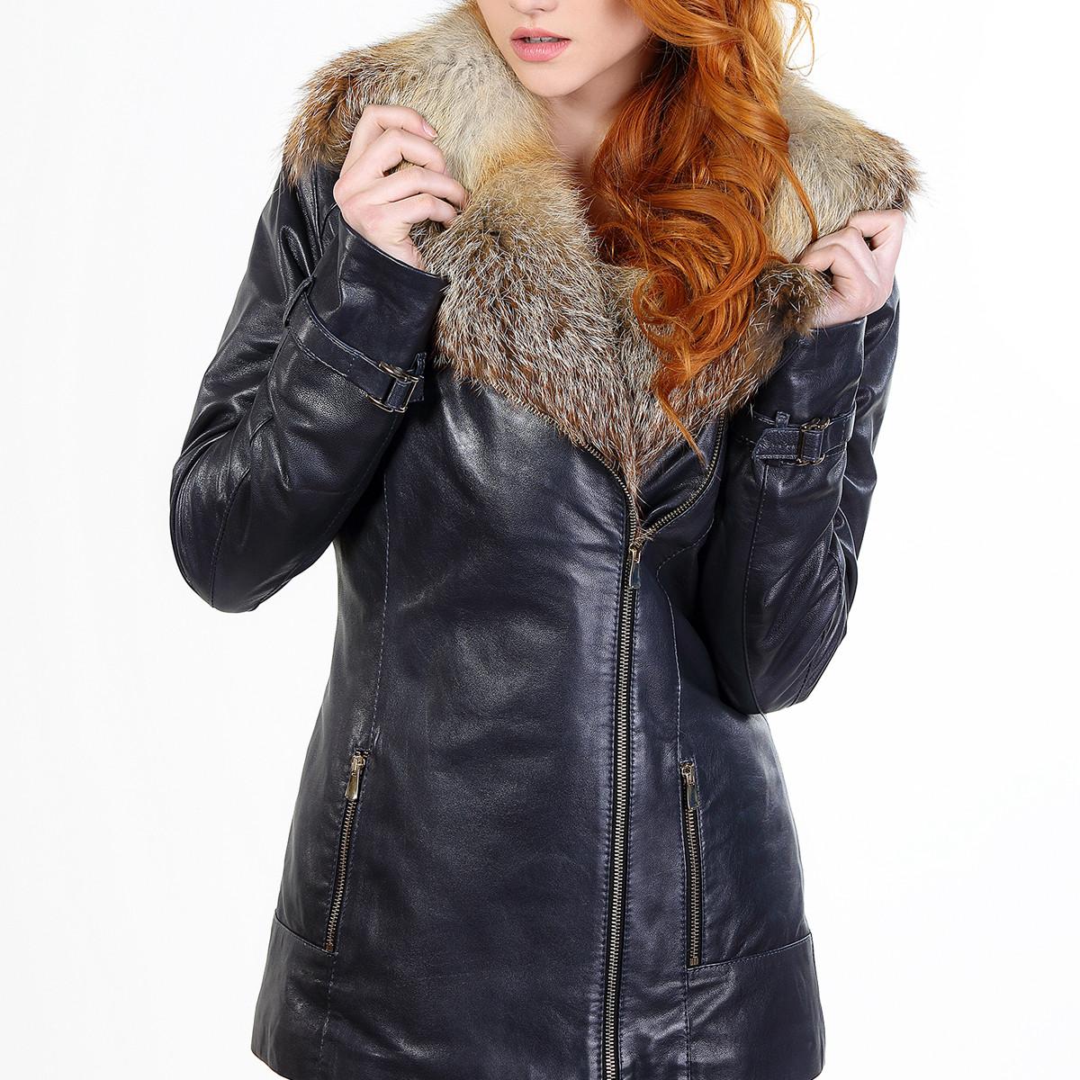 Кожаная куртка с лисой синяя женская 48 размера (Арт. CR282)